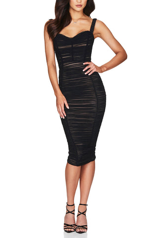 Nookie Dita Mesh Midi Dress Black