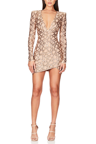 Nookie Eclipse Long Sleeve Mini Dress Gold