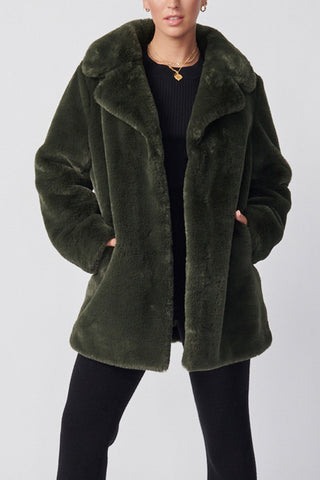 Ena Pelly Minimalist Faux Fur Jacket Forest