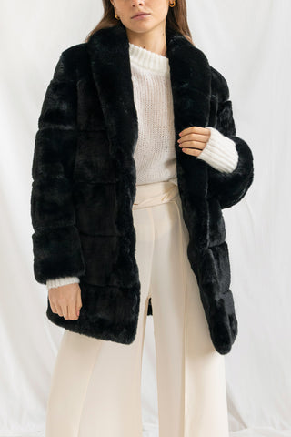 San Sloane Ashford Faux Fur Jacket Black