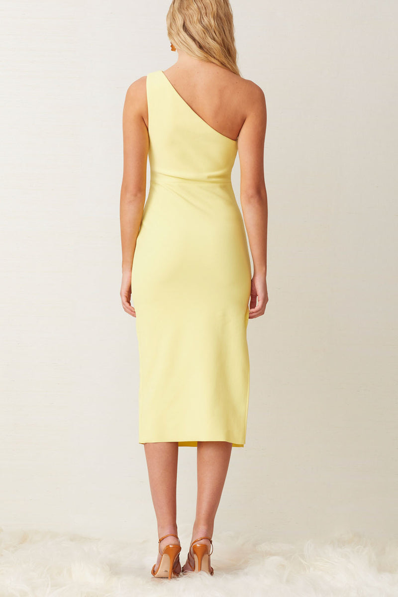 Bec and Bridge Gemma Asym Midi Dress Banana