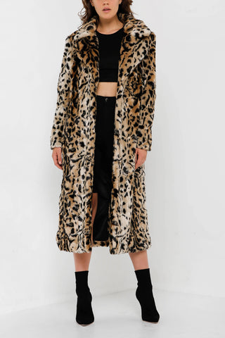 Unreal Fur Long Song Coat Light Leopard