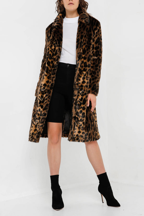 Unreal Fur Long Weekend Coat Leopard