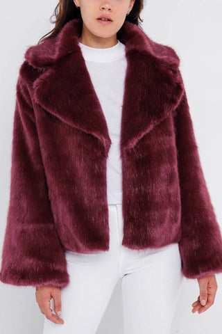Unreal Fur Madame Butterfly Faux Fur Jacket Wine