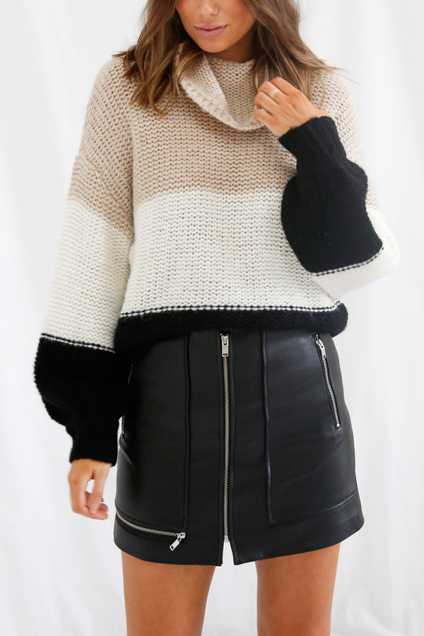 San Sloane Georgia Knit Tan-Cream-Black