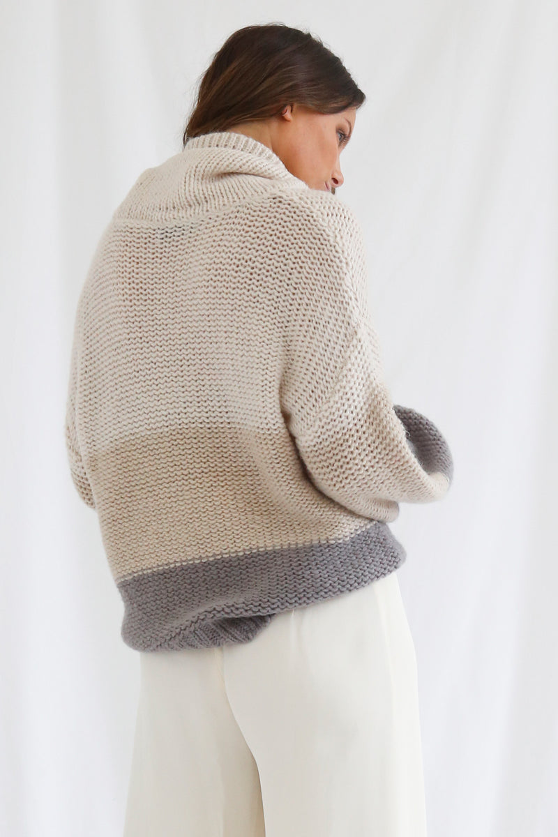 San Sloane Georgia Knit Cream-Oatmeal-Grey