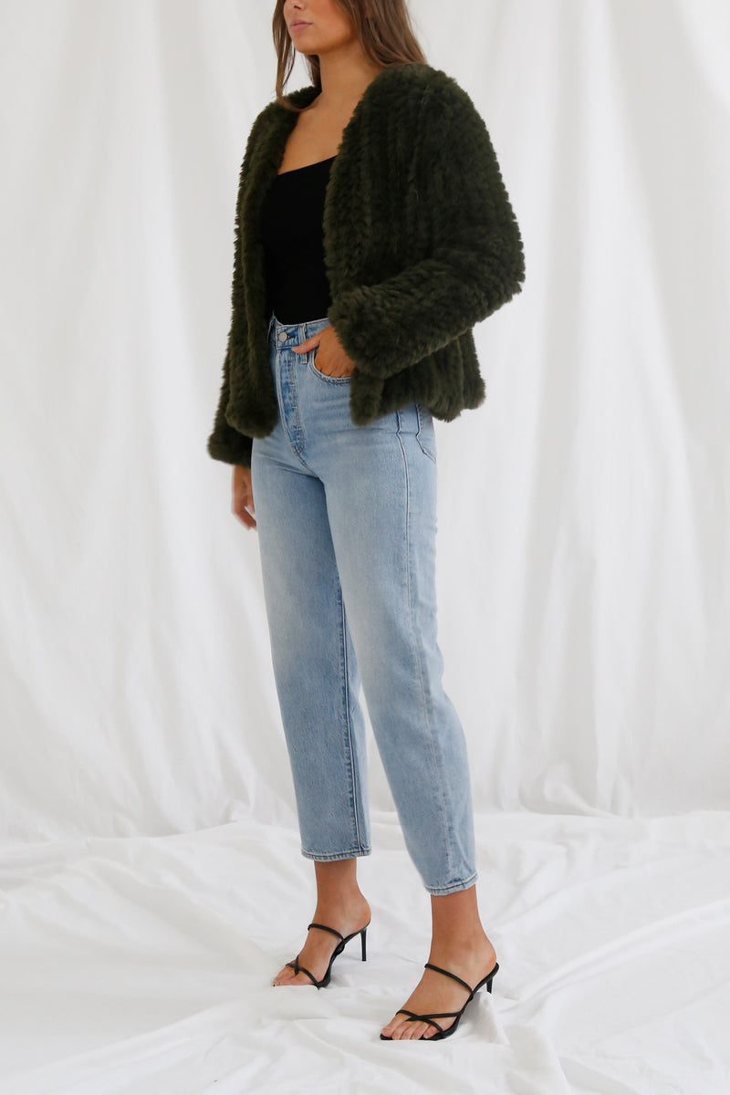 San Sloane Claudia Faux Fur Jacket Forest Green