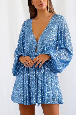 San Sloane Leighton Mini Dress Blue Sequin
