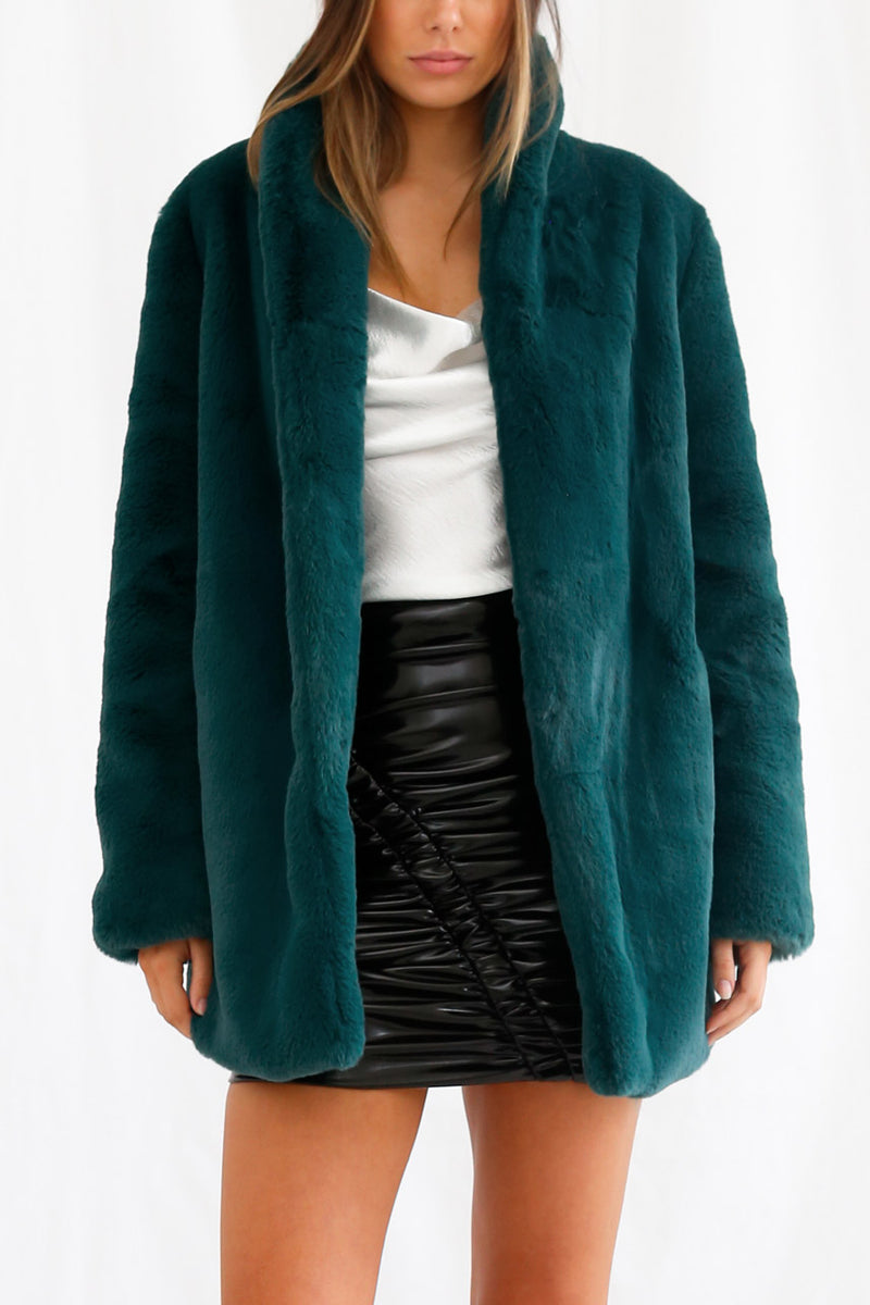 San Sloane Crawford Faux Fur Jacket Teal Green
