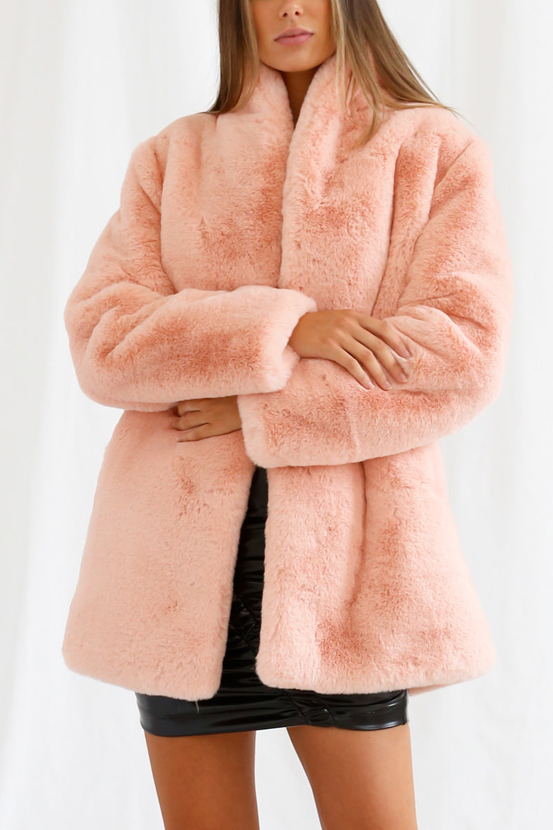 San Sloane Crawford Faux Fur Jacket Blush