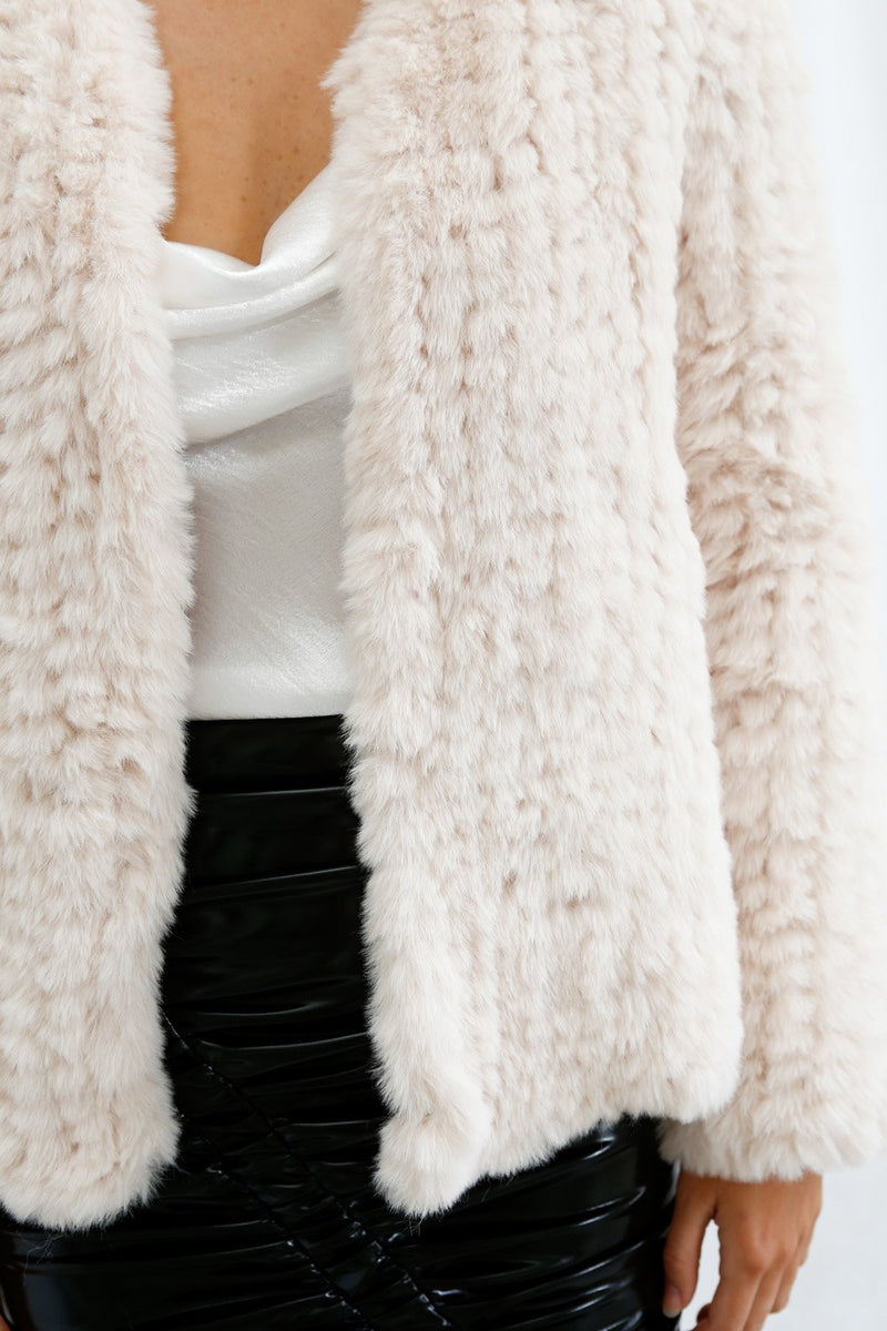 San Sloane Claudia Faux Fur Jacket Cream