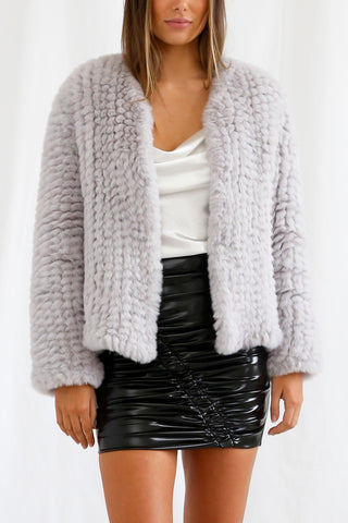 San Sloane Claudia Faux Fur Jacket Light Grey