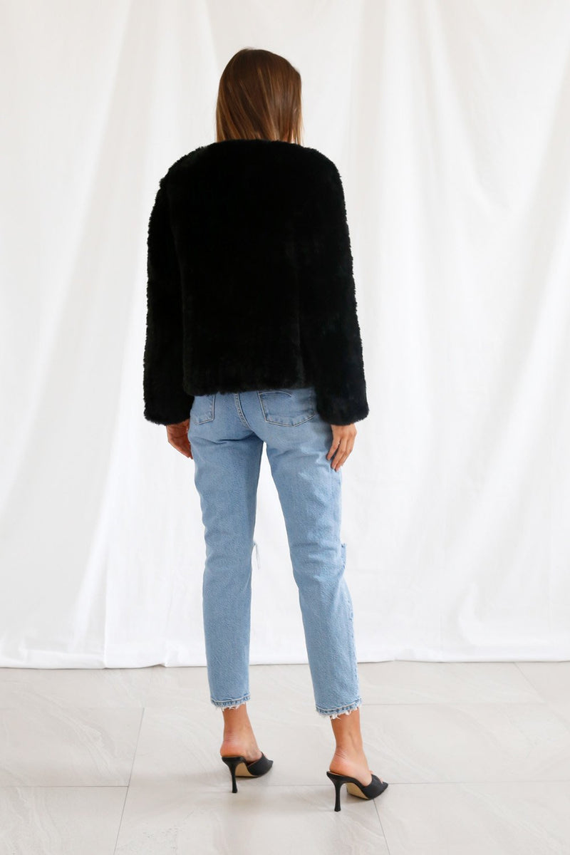 San Sloane Claudia Faux Fur Jacket Black