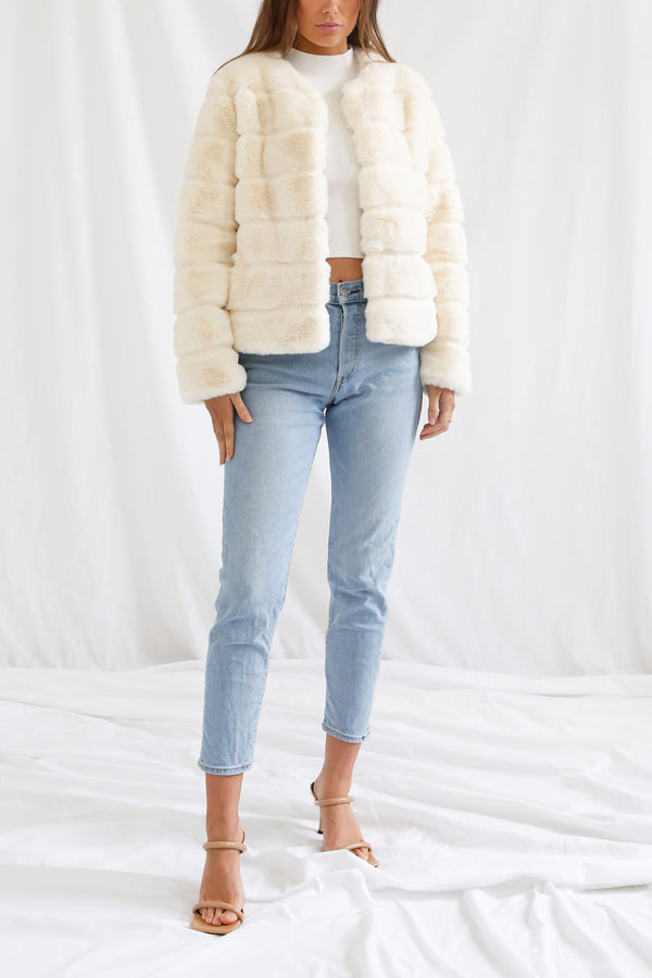San Sloane Tyra Quilted Faux Fur Jacket Cream