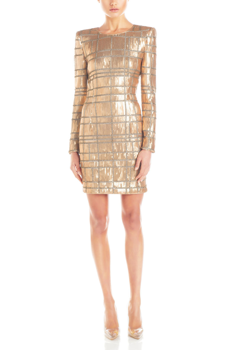 Misha Collection Ava Sequin Dress Gold