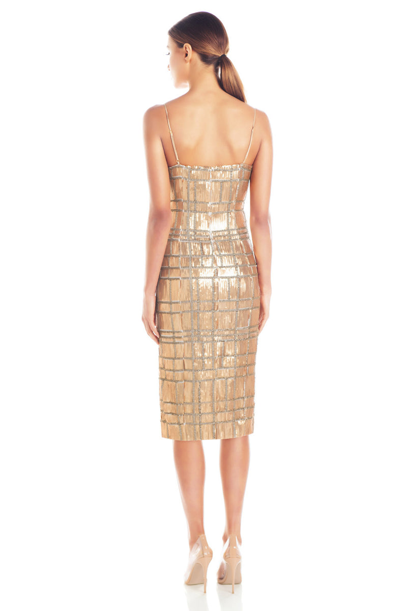 Misha Collection Yvette Sequin Dress Gold