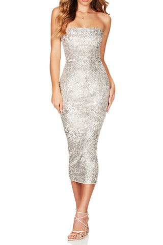 Nookie Fantasy Midi Dress Silver