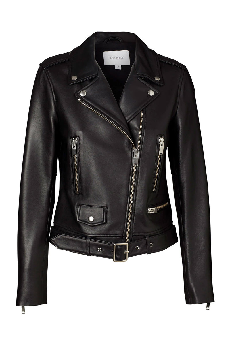 Ena Pelly New Yorker Biker Jacket Smooth Black Silver