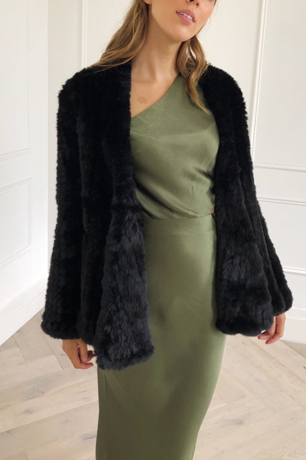 San Sloane Beau Faux Fur Jacket Black