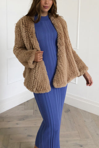 San Sloane Beau Faux Fur Jacket Toffee