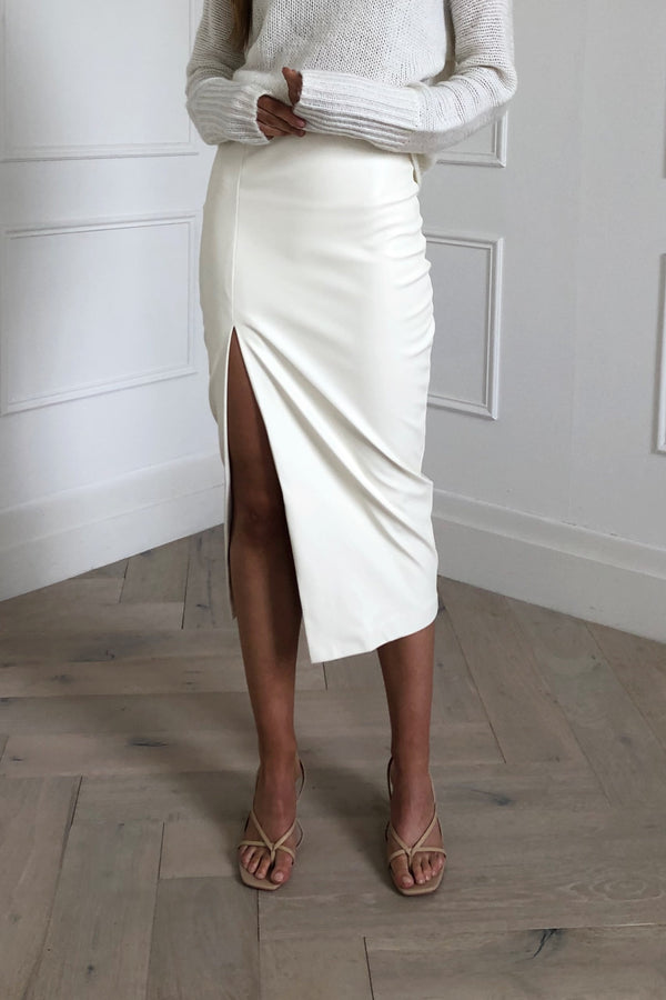 Effie Kats Split Midi Skirt Cream