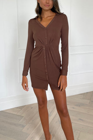 Sovere Motive Twist Polo Mini Dress Cocoa