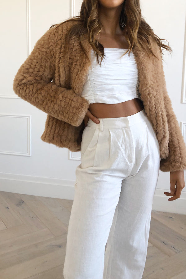 San Sloane Claudia Faux Fur Jacket Toffee