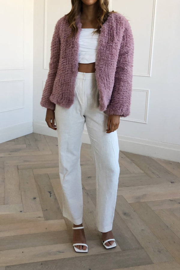 San Sloane Claudia Faux Fur Jacket Rose