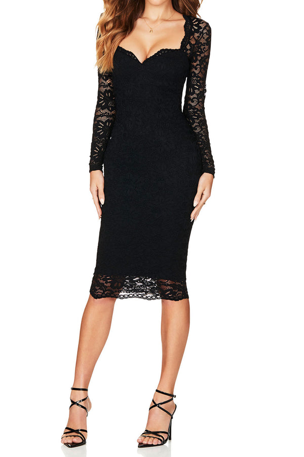 Nookie Romance Long Sleeve Midi Black
