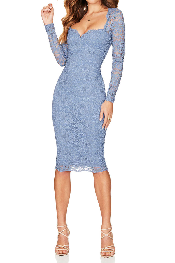 Nookie Romance Long Sleeve Midi Dusty Blue