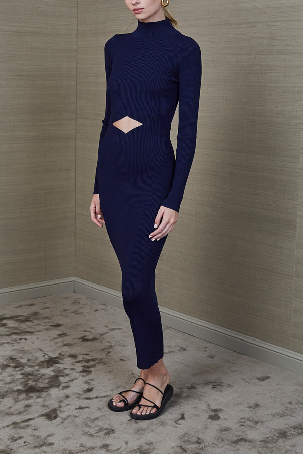 Bec and Bridge Rib Knit Midi Dress Navy