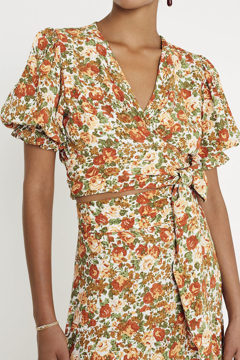 Faithfull Mali Wrap Top Le Rose Floral
