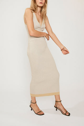 Suboo Sonnet Rib Dress Beige-Yellow