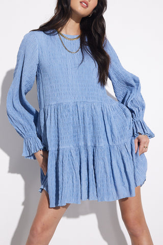 Sovere Asher Smock Dress Dusty Blue
