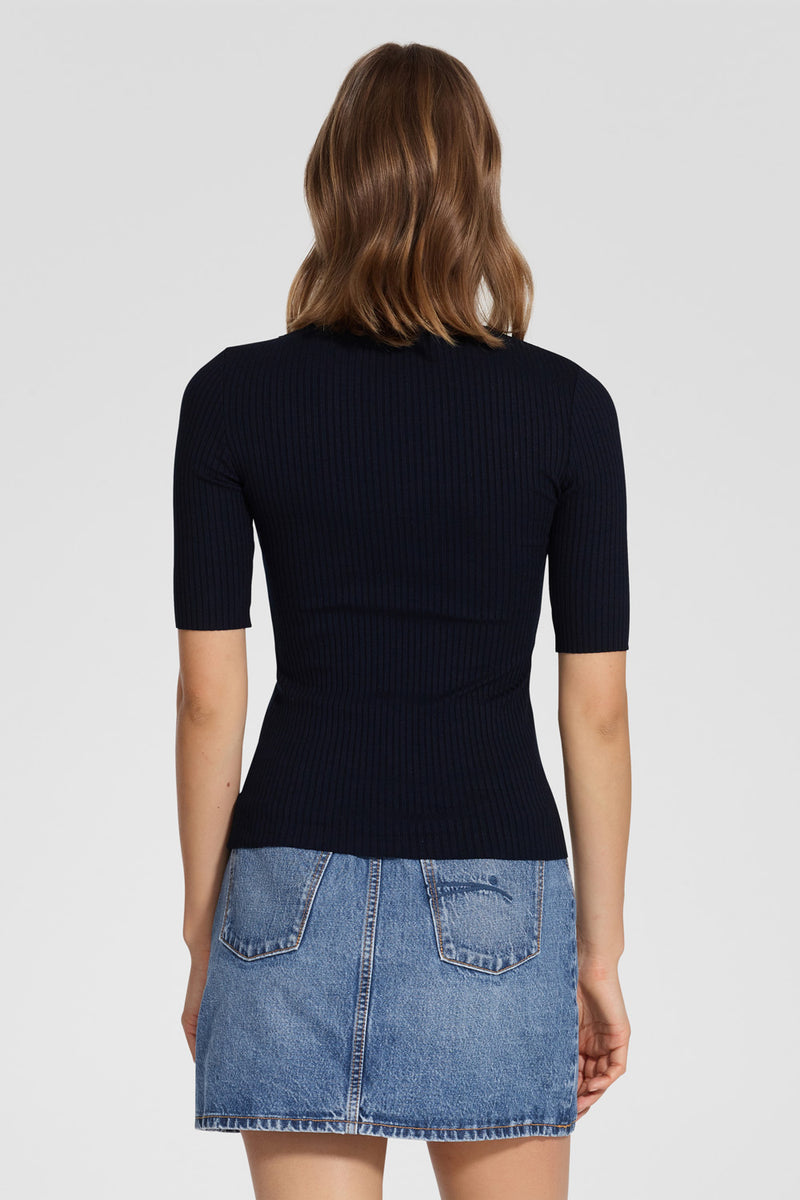 Nobody Denim Luxe Rib Tee Navy