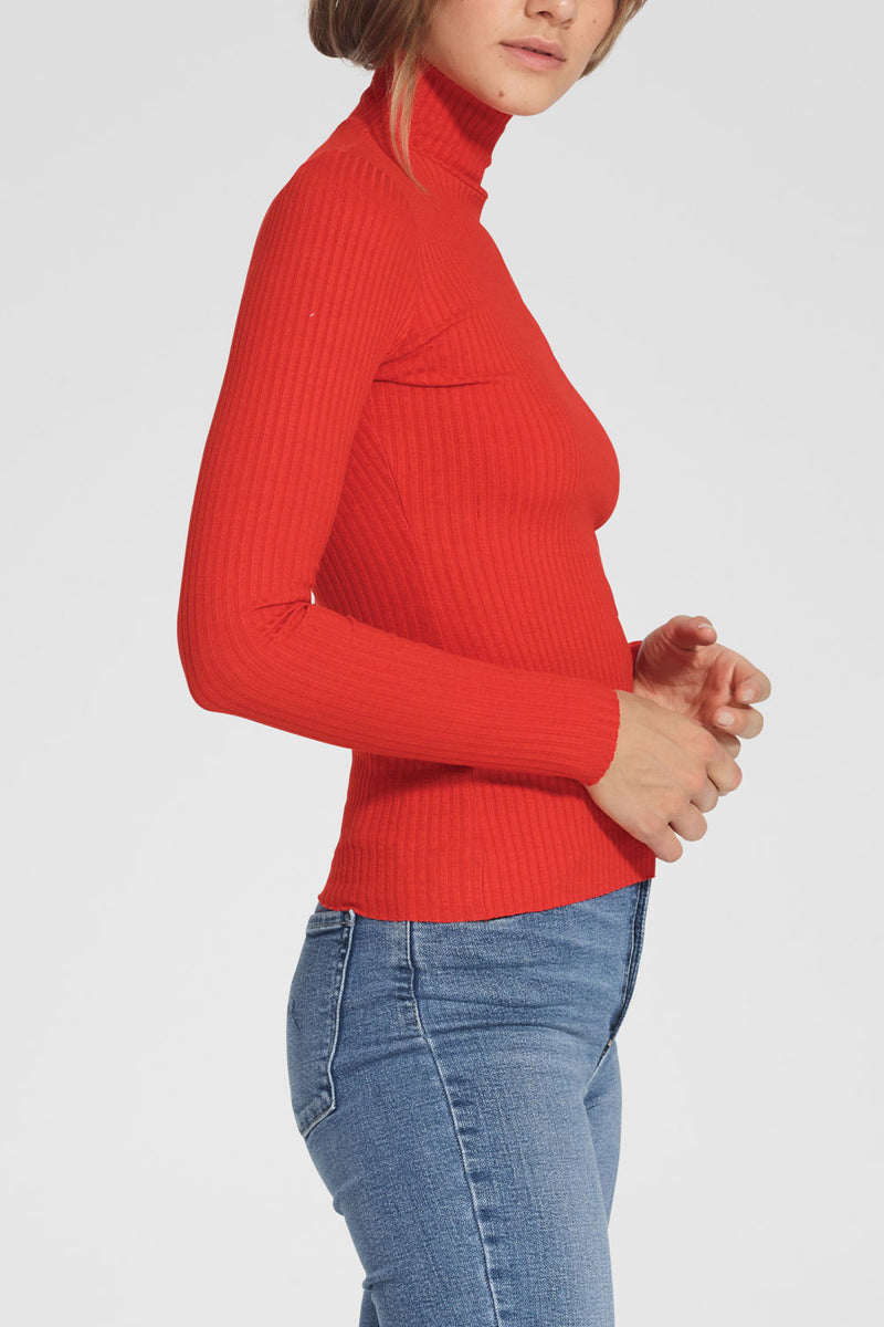 Nobody Denim Luxe Rib Long Sleeve Poppy