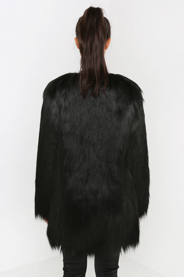 Unreal Fur Wonderlust Faux Fur Coat Black