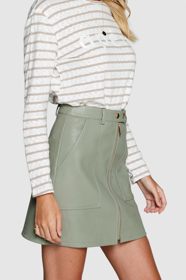 Apero Sophia Leather Look Skirt Light Khaki