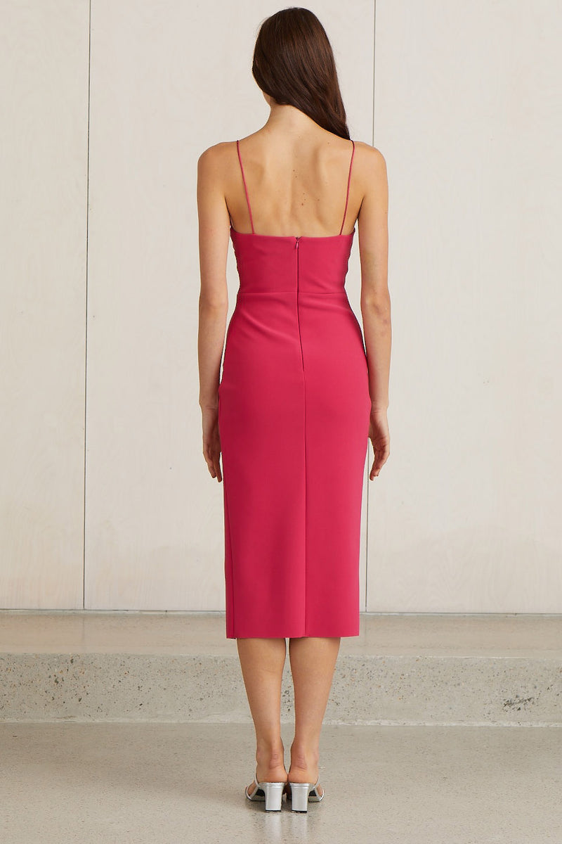 Bec and Bridge Valentine V Midi Dress Hot Pink