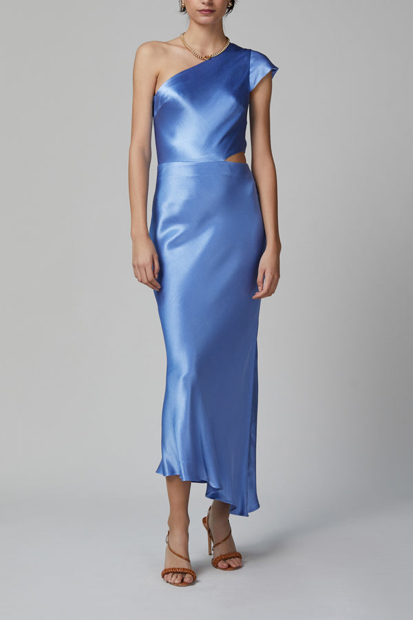 Bec and Bridge Delphine Asym Midi Dress Cornflower Blue