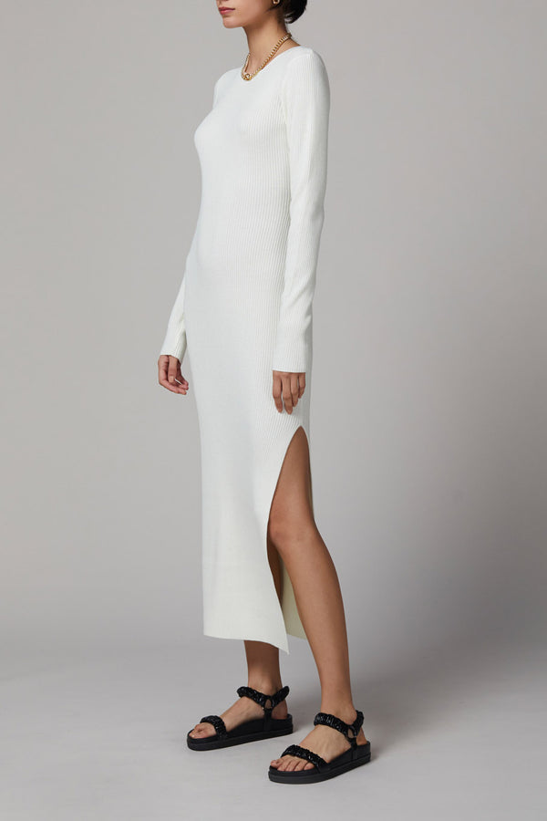 Bec and Bridge Freya LS Knit Midi Dress Ivory