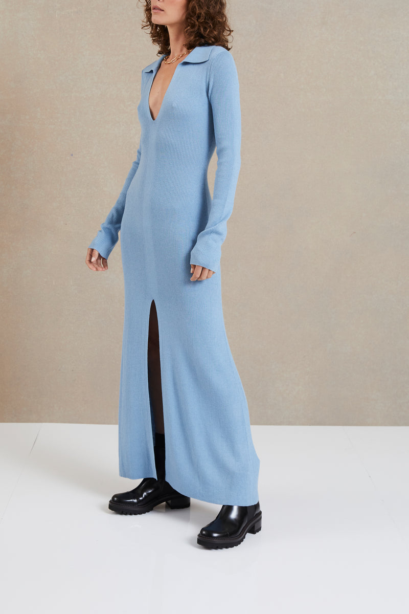 Bec and Bridge Freya Knit LS Knit Maxi Dress Sky Blue