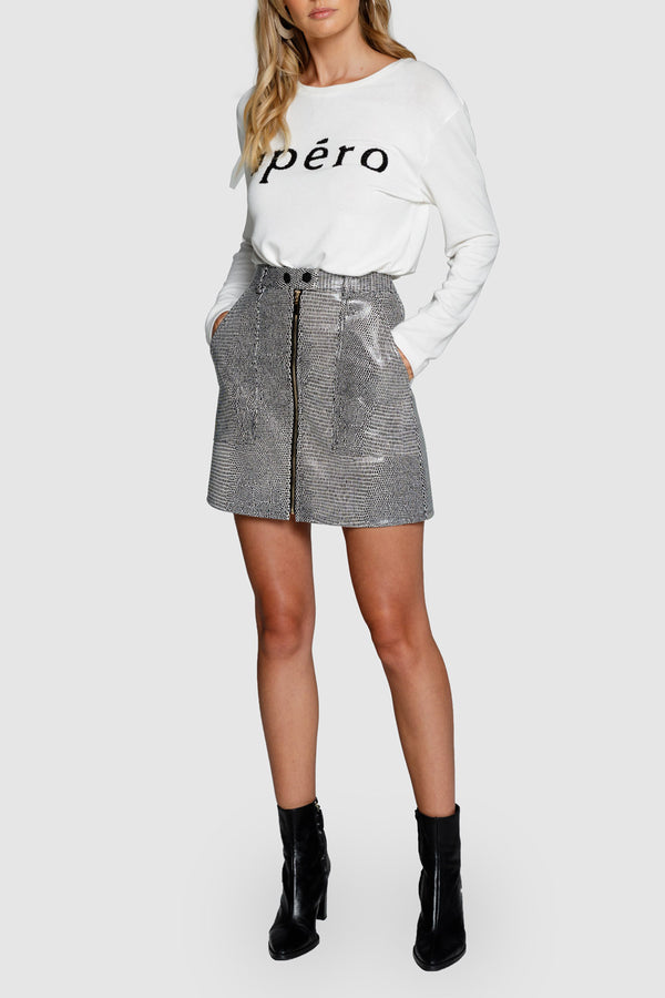 Apero Reptile Leather Look Skirt