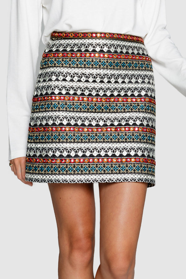 Apero Elevate Embroidered Mini Skirt