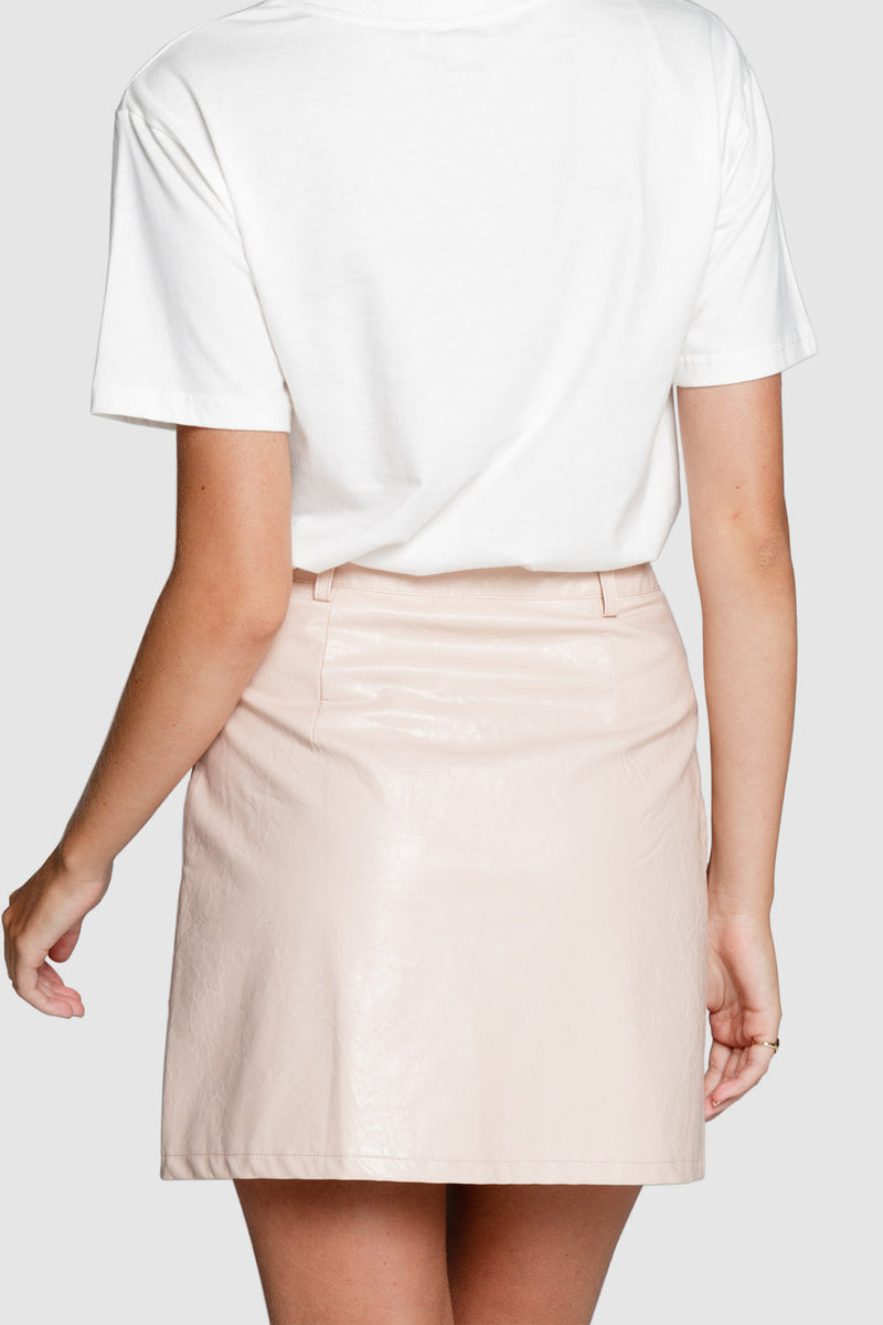 Apero Sophia Leather Look Skirt Dusty Pink
