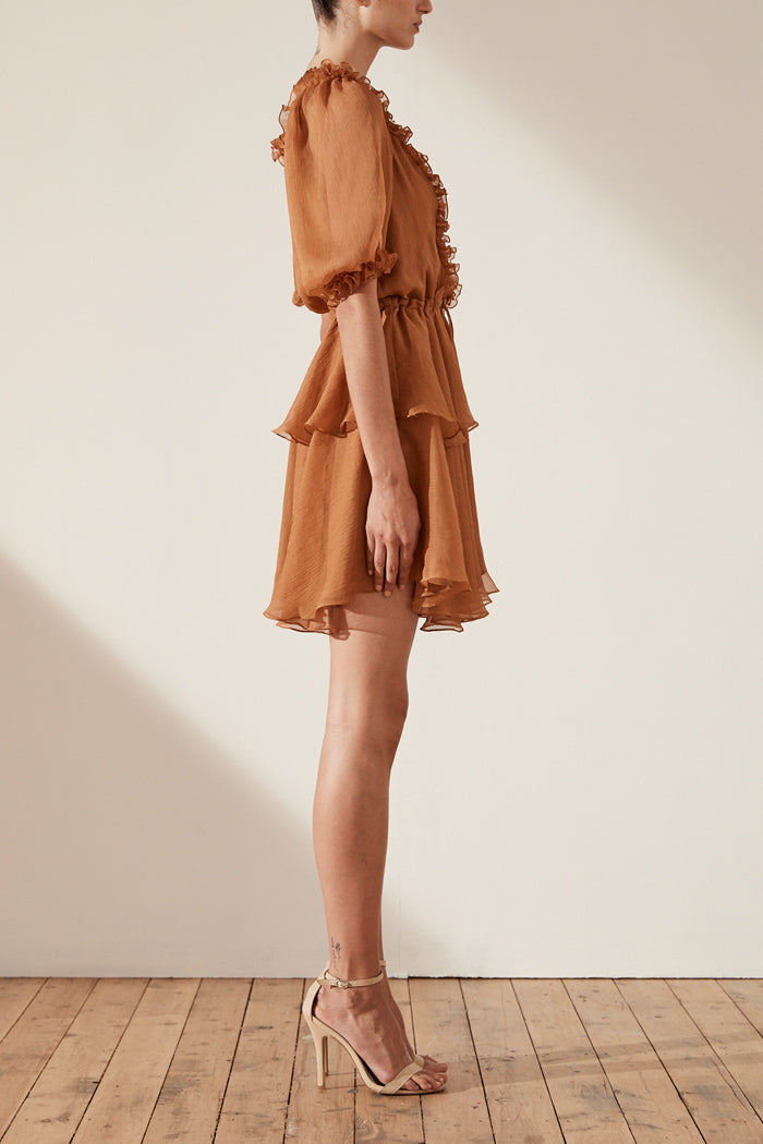 Shona Joy Ambra Puff Sleeve Drawstring Mini Dress