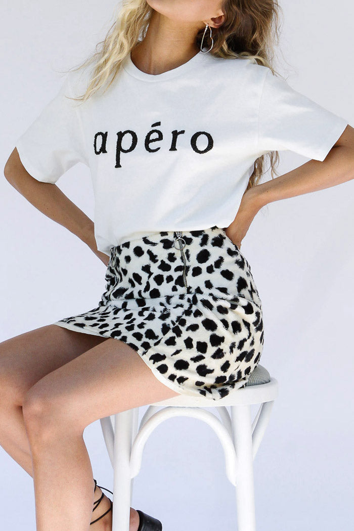 Apero Beaded Tee White Black