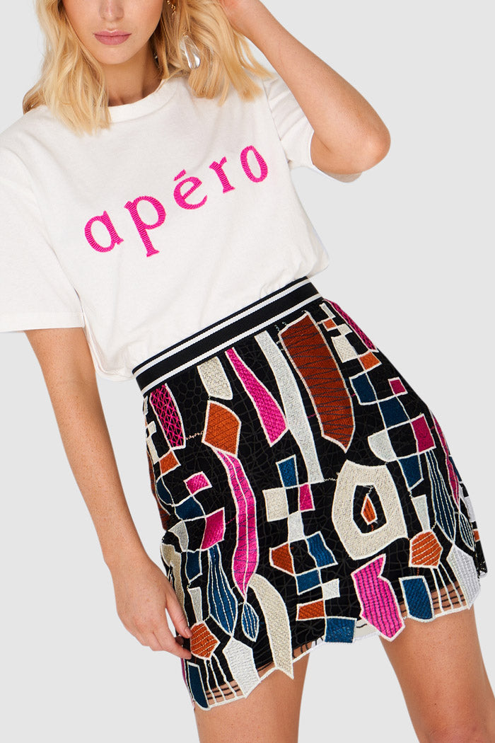 Apero Shapes Embroidered Mini Skirt