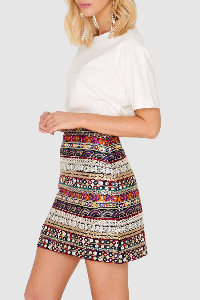 Apero Mirror Embroidered Mini Skirt