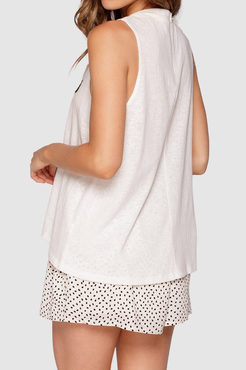 Apero Beaded Tank Top Grey Marle